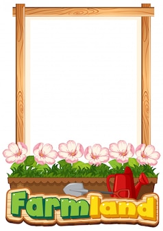 Border template design with beautiful flowers in the garden