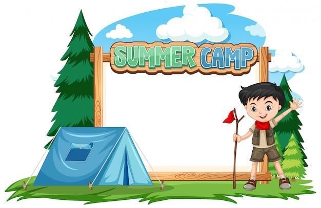 Границы шаблона дизайна с мальчиком в летнем лагере