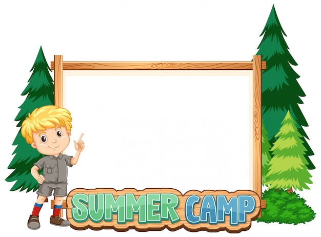 Border template design with boy at summer camp