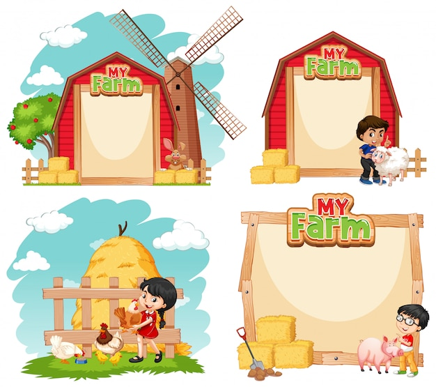 子供と家畜のボーダーテンプレートデザイン