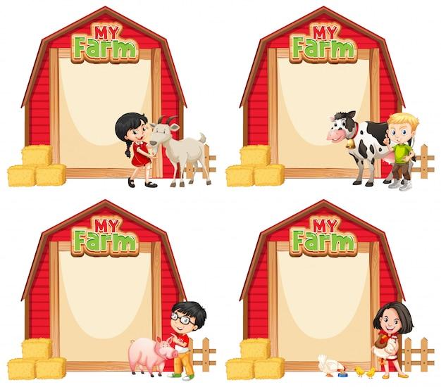 어린이와 농장 동물과 테두리 서식 디자인