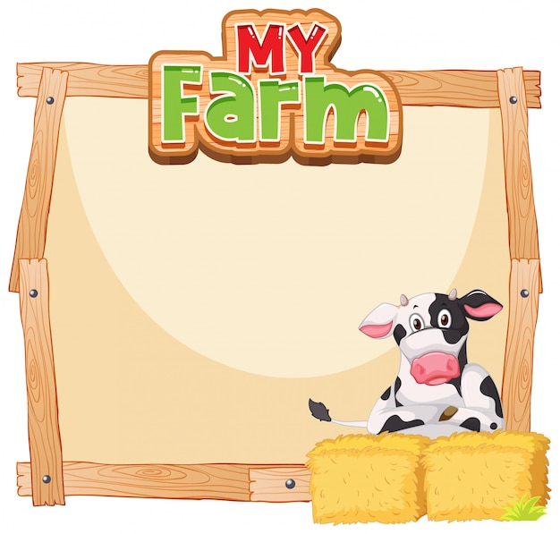 Border template design with cow and hay