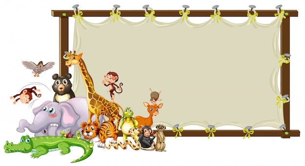 Border template design with cute animals