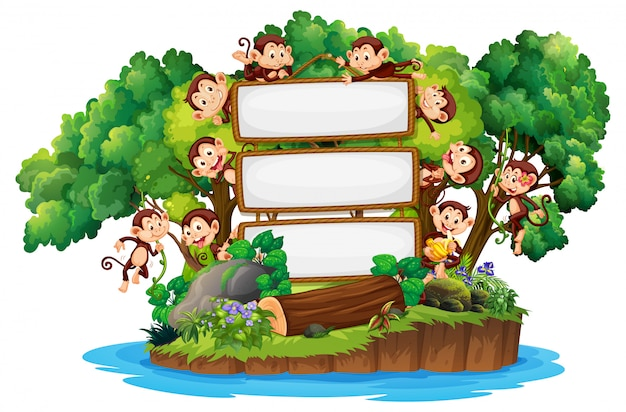 Border template design with cute monkeys on island