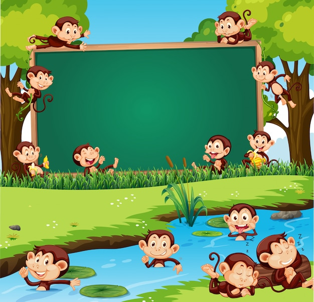 Border template design with cute monkeys in the park