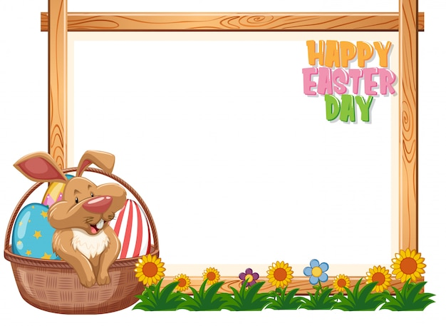 Border template design with easter bunny and eggs