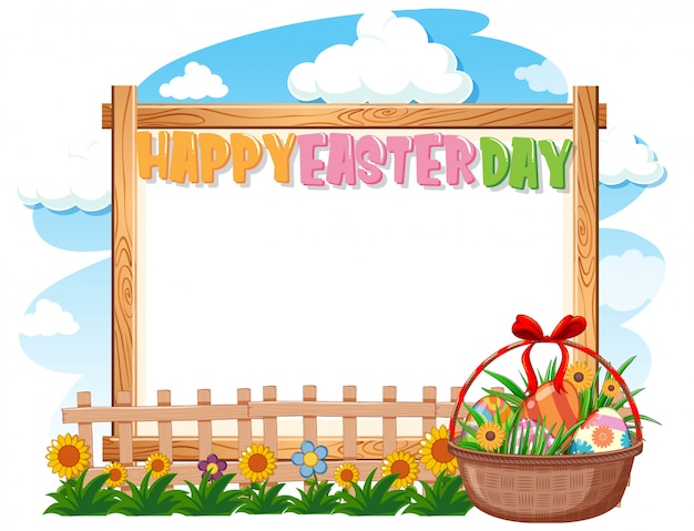 Border template design with easter eggs in the garden