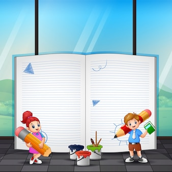 Border template design with girl and boy drawing