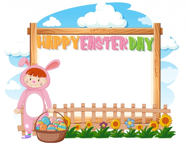 Border template design with girl in bunny costume for easter