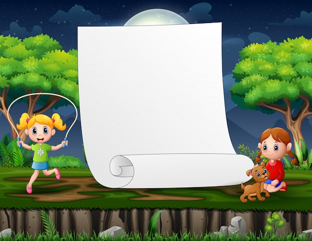 Border template design with girls playing