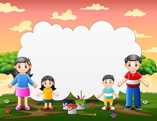 Border template design with happy family standing