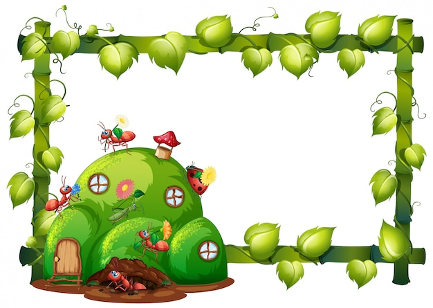 Border template design with insects in the garden background