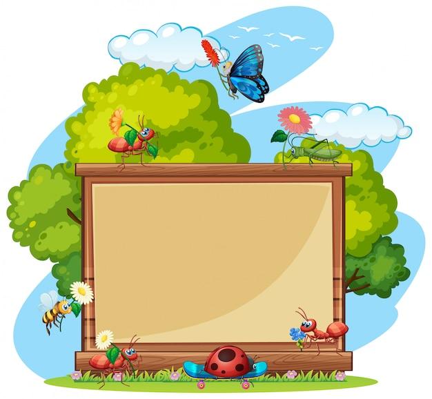 정원 배경에서 곤충과 테두리 템플릿 디자인