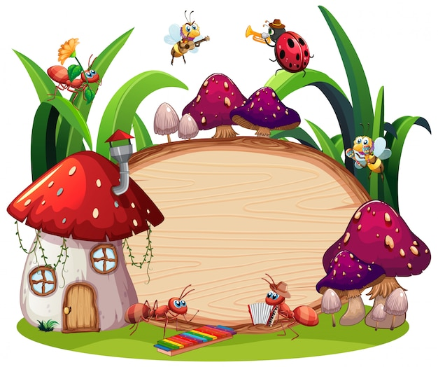 庭の背景に昆虫とボーダーテンプレートデザイン