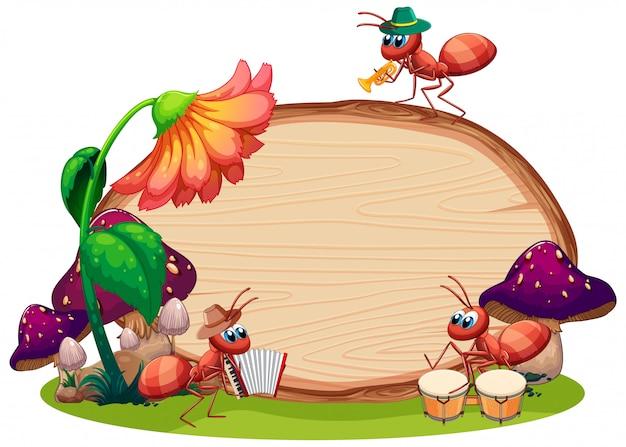 Границы шаблона дизайна с насекомыми на фоне сада