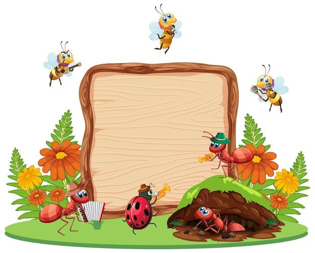 Граница шаблона дизайна с насекомыми на фоне сада