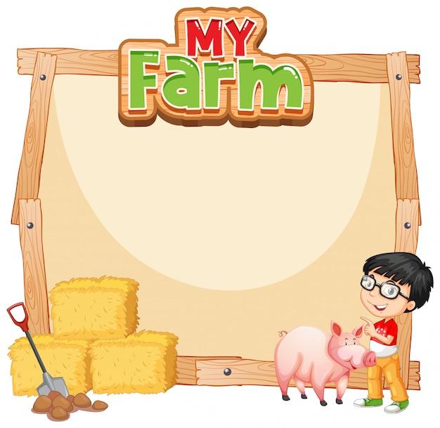 작은 소년과 돼지와 테두리 서식 파일 디자인 무료 벡터
