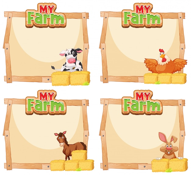 Border template design with many animals on the farm