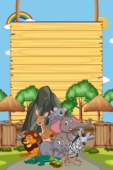 Border template design with many wild animals in background