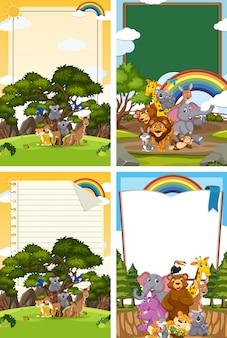 Границы шаблона дизайна со многими дикими животными в фоновом режиме