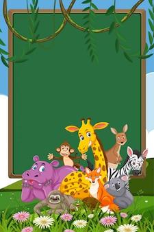 백그라운드에서 많은 야생 동물과 테두리 서식 파일 디자인