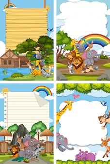Border template design with many wild animals
