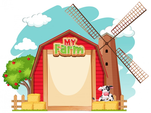 Border template design with red barn and cow