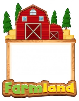 Border template design with red barns