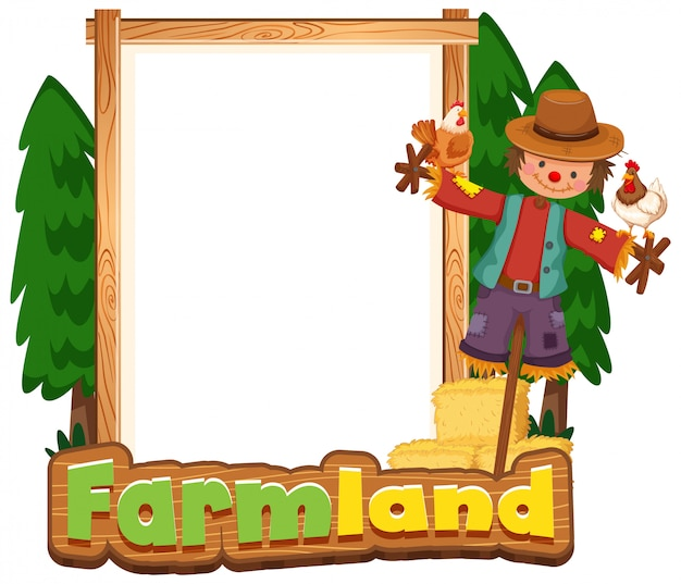 Border template design with scarecrow and chickens