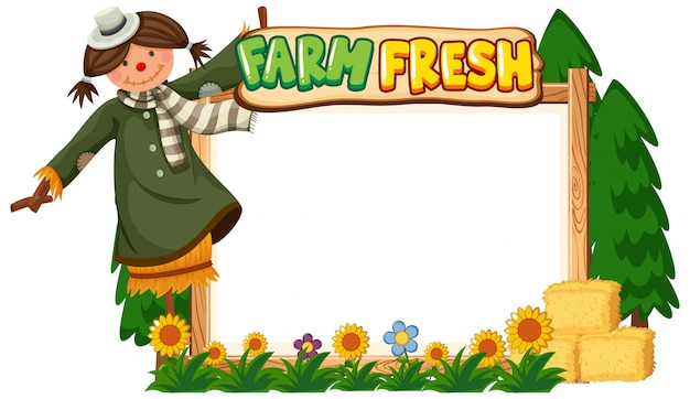 Border template design with scarecrow and flowers in garden