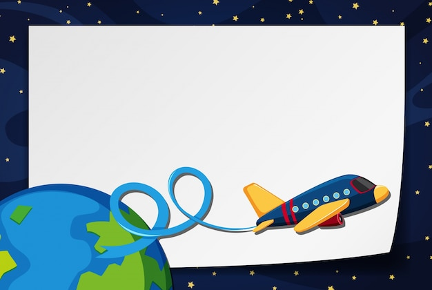 Border template with airplane flying in space