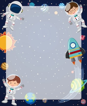 Border template with astronauts flying in sky