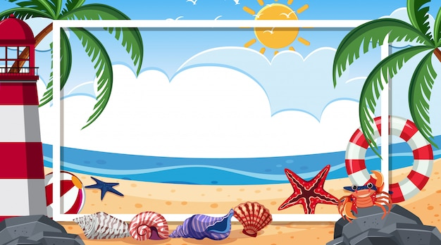 Border template with beach scene in background