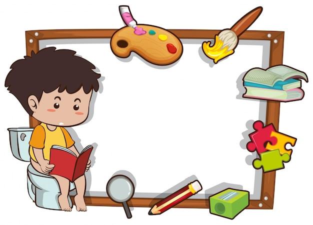 책을 읽는 소년과 테두리 서식