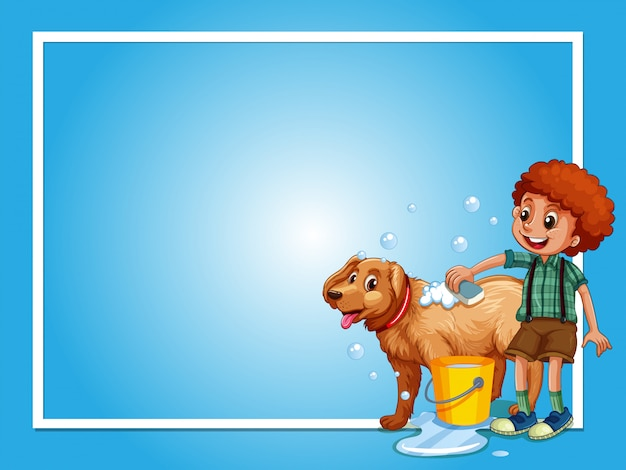 Border template with boy washing dog
