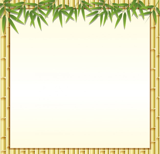 Border template with brown bamboo stems