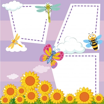 Border template with bugs in sunflower garden