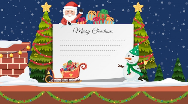 Border template with christmas tree and santa