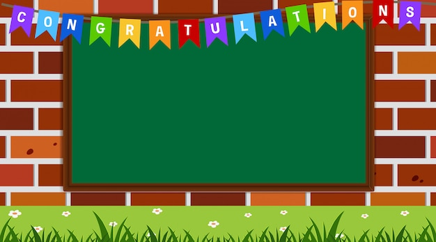 Border template with congratulations flags
