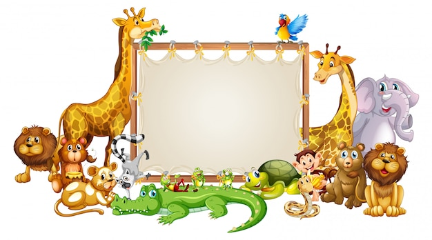 Border template with cute animals