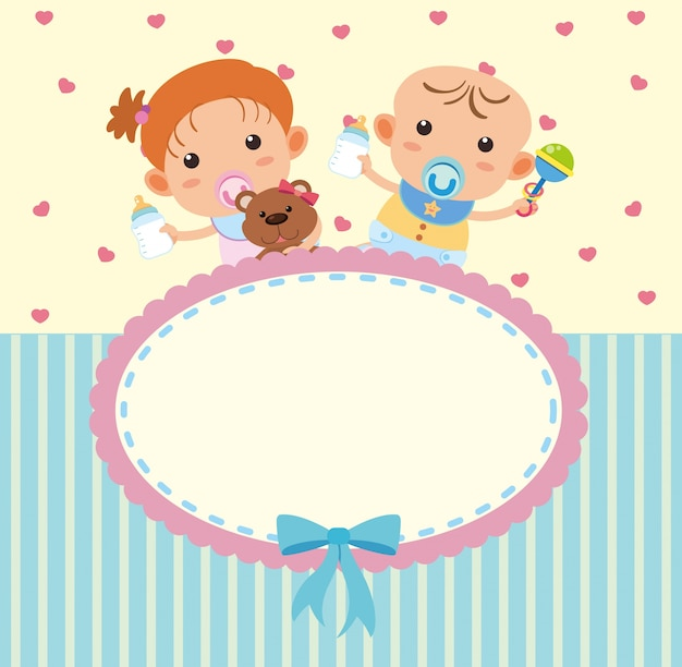 Border template with cute boy and girl