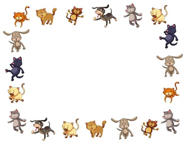 귀여운 고양이와 개 테두리 서식