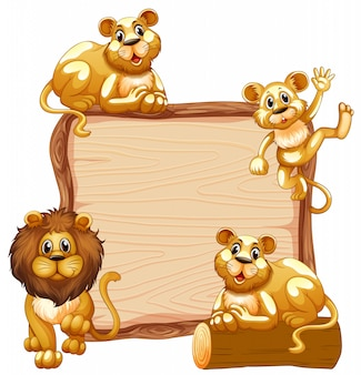 Border template  with cute lion family