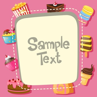 Border template with different types of desserts Premium Vector