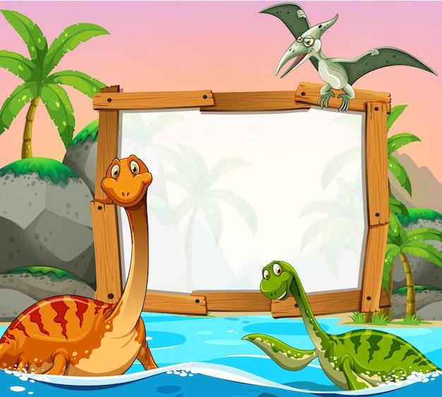海の恐竜を持つボーダーテンプレート