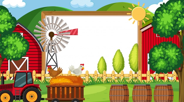 Border template with farm scene in background