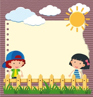 ガーデンの少女と少年とのボーダーテンプレート