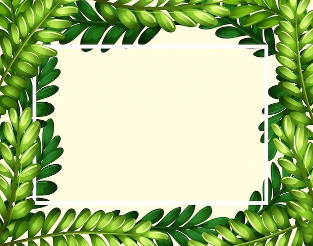 Border template with green leaves