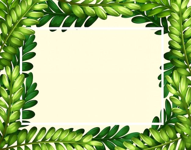 Шаблон границы с зелеными листьями