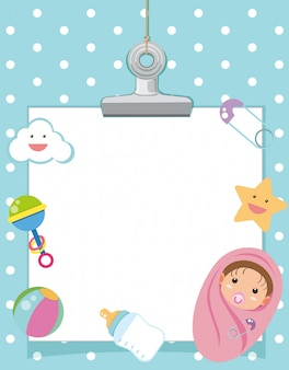 Border template with infant and toys